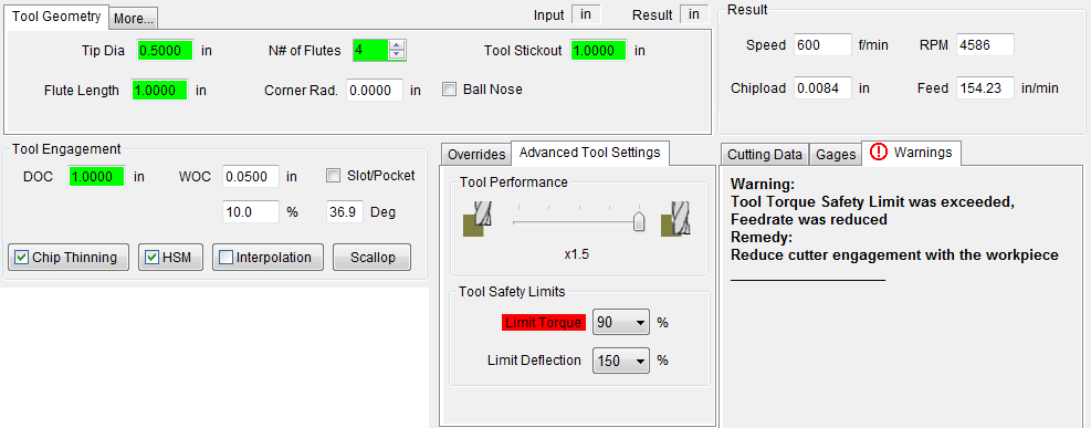 Advanced Speed and Feed Calculator: Screen Shots and
